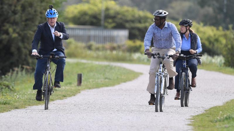 British PM Boris Johnson rides made-in-India Hero cycle at UK's health programme launch